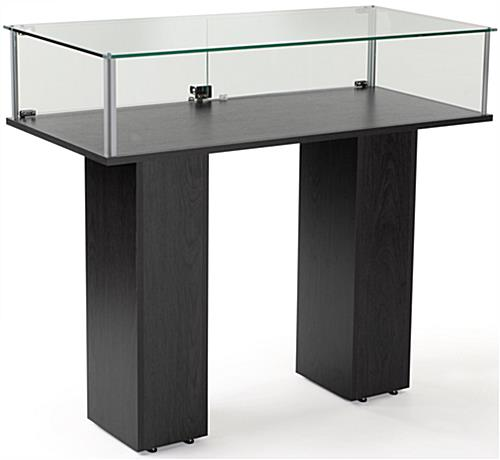 Glass Pedestal Showcase With Tempered Glass Case And Black Veneer MDF Base-Assembly Required