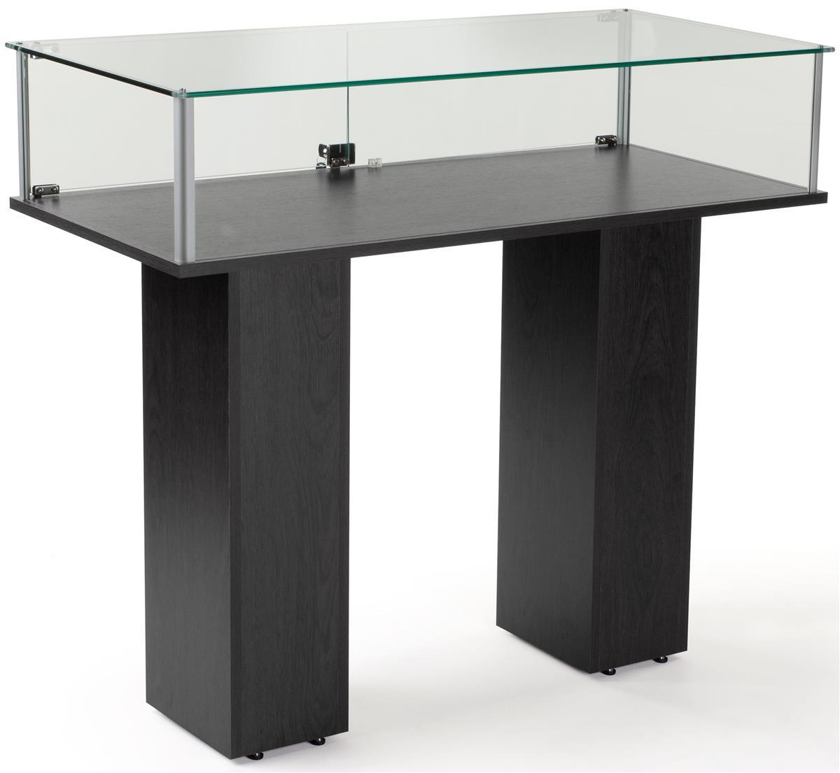 Glass Pedestal Showcase Tempered Glass Case Black
