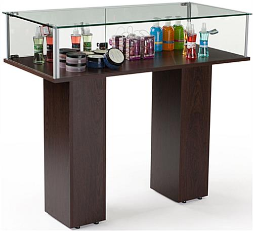 Commerical Display Case With Tempered Glass Panels And Wenge Veneer MDF Base-Assembly Required