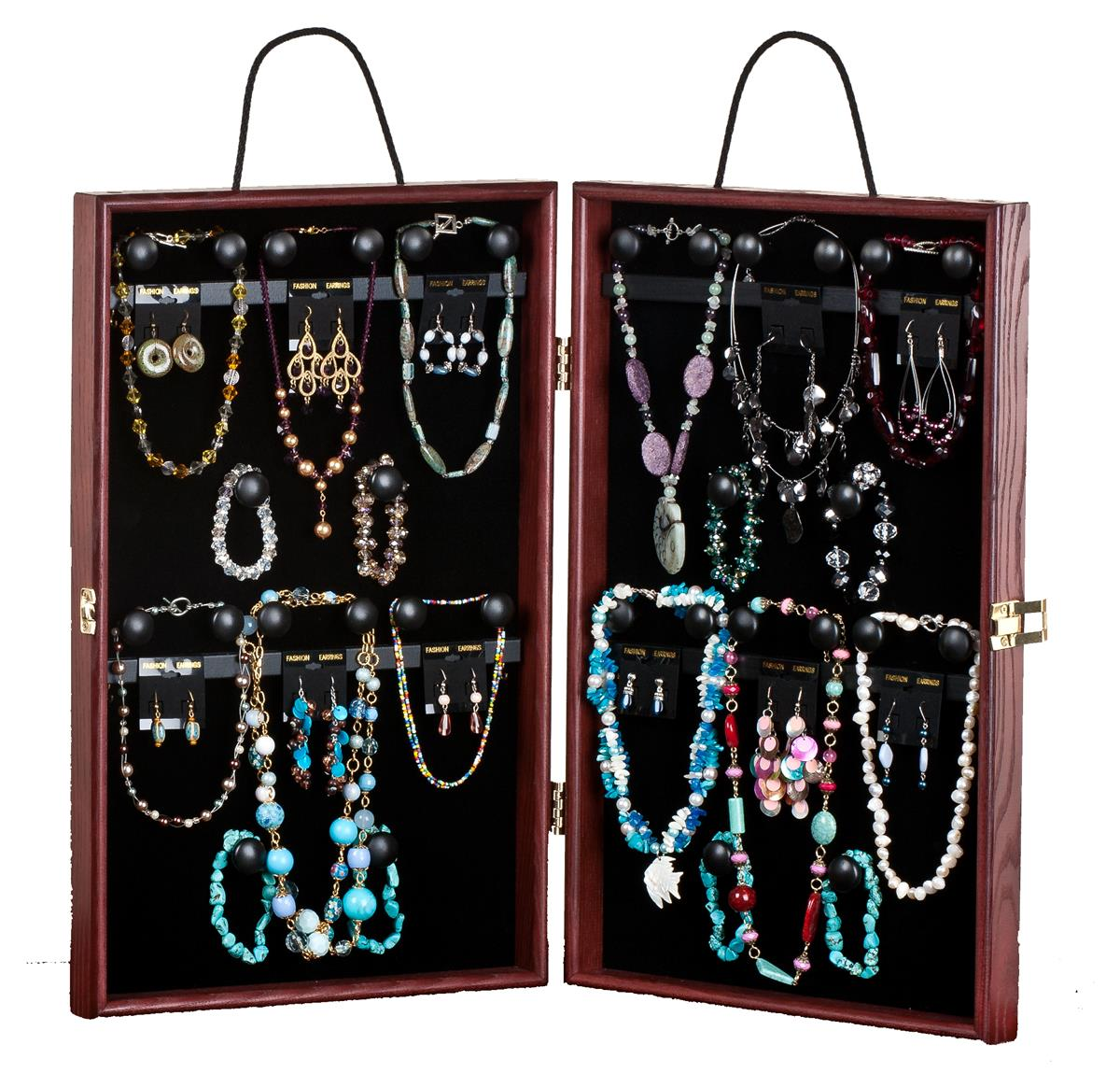 this travel jewelry display case holds necklaces earrings. Black Bedroom Furniture Sets. Home Design Ideas