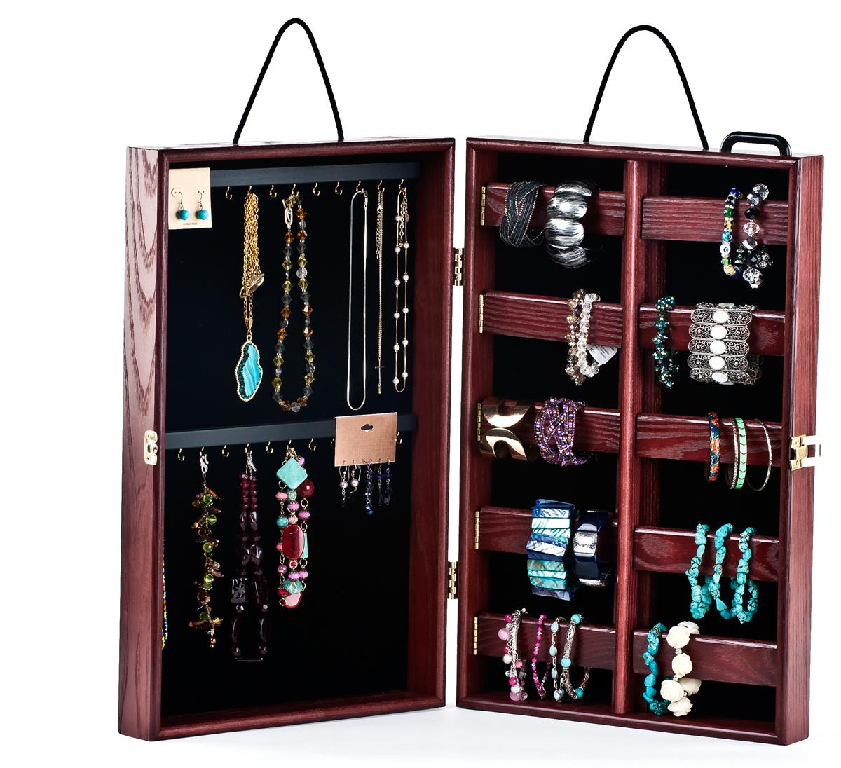 Portable Jewelry Showcase - Ash Wood w/ Cherry Finish