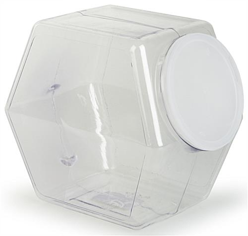 Countertop Merchandise Bin Hexagon Shape With Lid