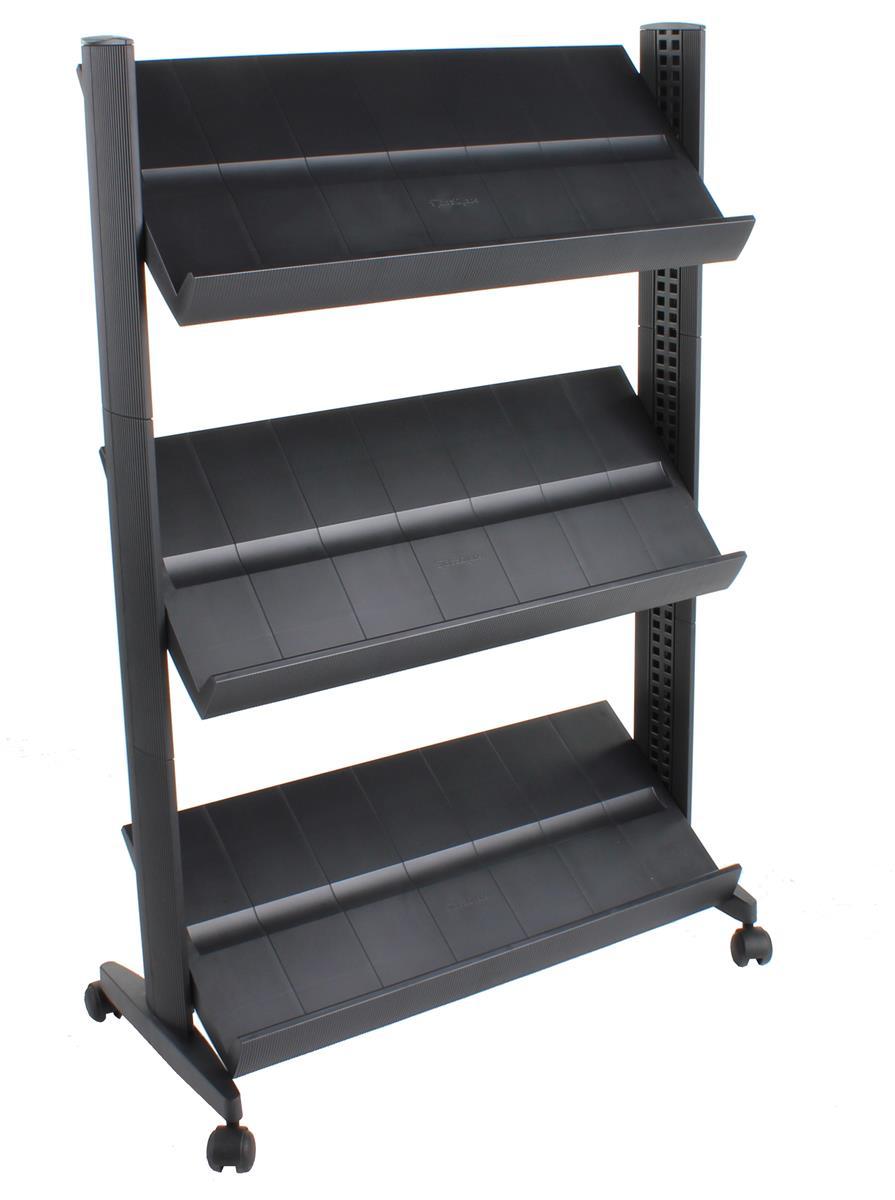 Mobile Literature Display 3 Adjustable Shelves W Black