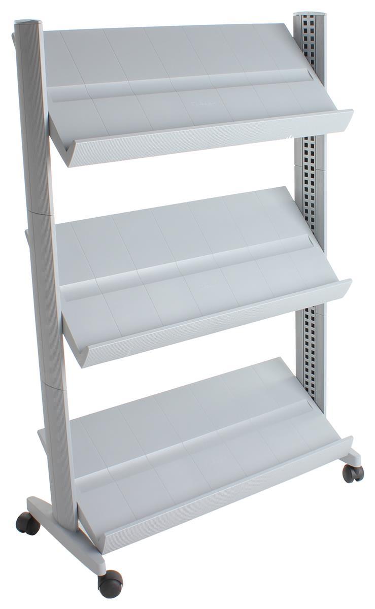 Mobile Literature Rack 3 Adjustable Shelves Silver