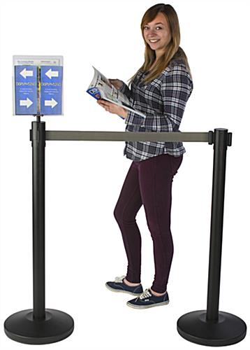 Information Promoting Gray Stanchion & Post with Literature Holder