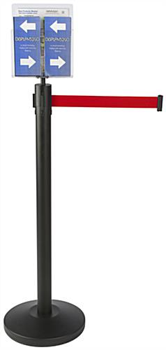 Brochure and Magazine Red Stanchion & Post with Literature Holder