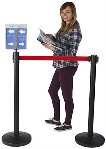 Information Promoting Red Stanchion & Post with Literature Holder