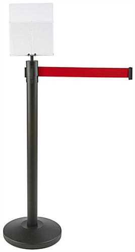 "54.5"" Tall Red Stanchion & Post with Literature Holder"