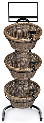 3 tier basket stand features four black floor levelers