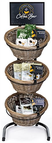 3 tier basket stand with 45 inch tall matte black frame