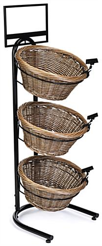 3 tier basket stand with round woven baskets