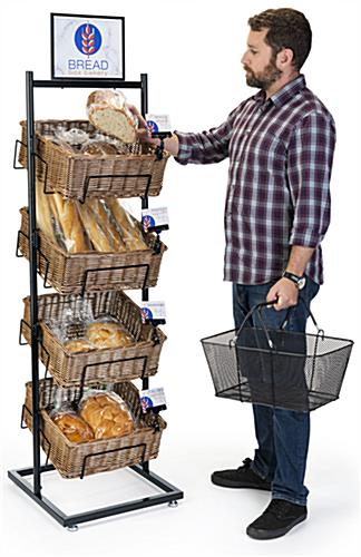 4 tier basket floor stand includes square wicker bins and sign holding attachments