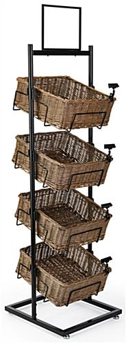 4 tier basket floor stand with black powder-coated frame