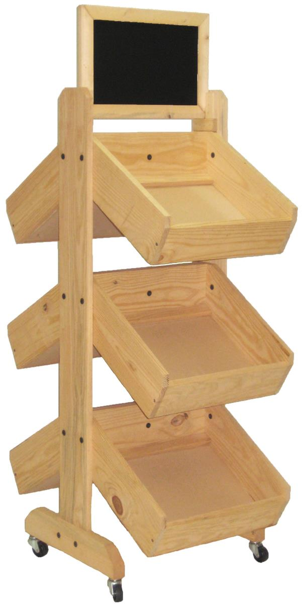 Wood Display Rack 4 Wheels
