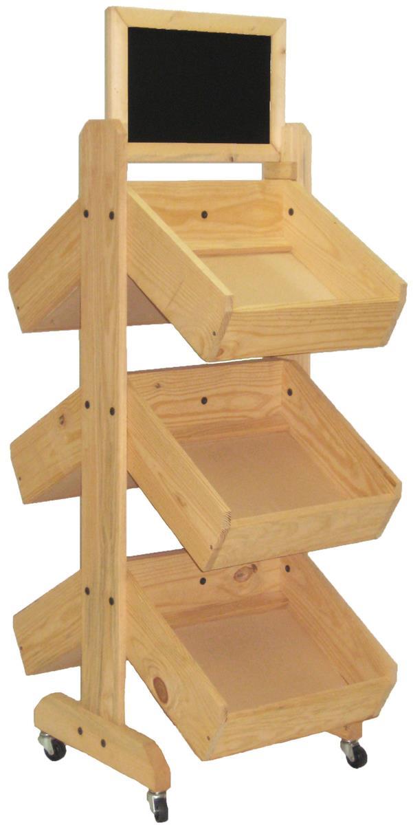 Wood Display Rack 4 Wheels