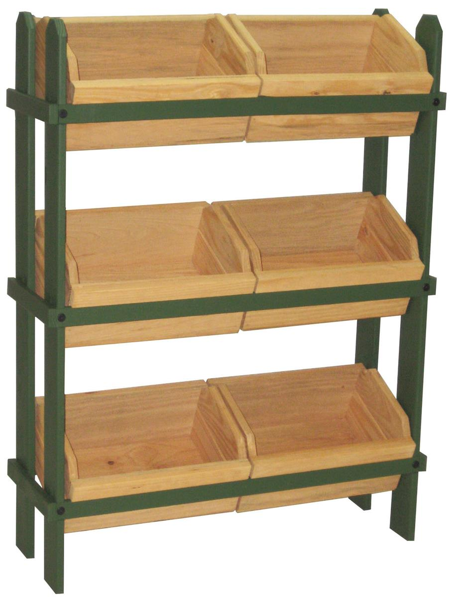 Wood Crate Stand 3 Tier Green Frame