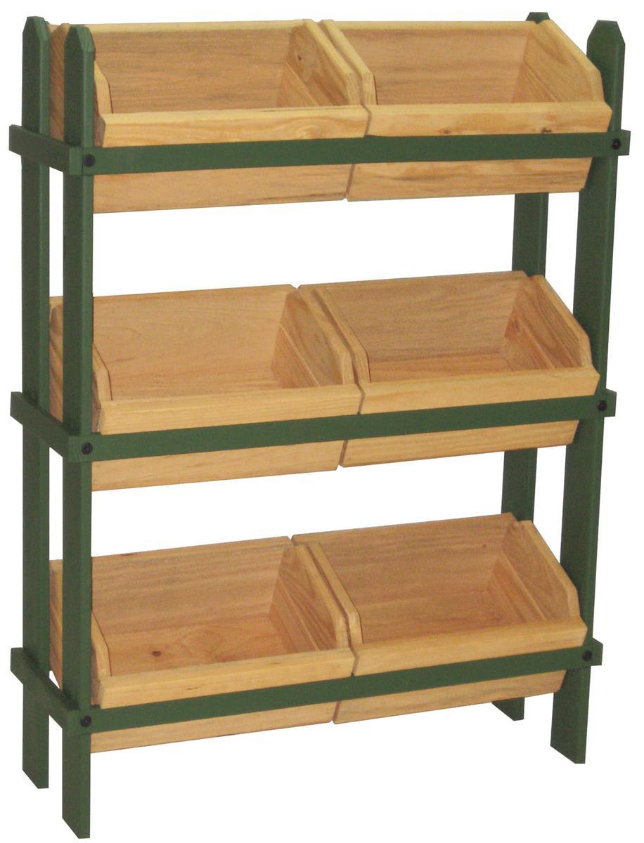 Tiered Wooden Display Floor Standing 6 Removable Bins Green Oak