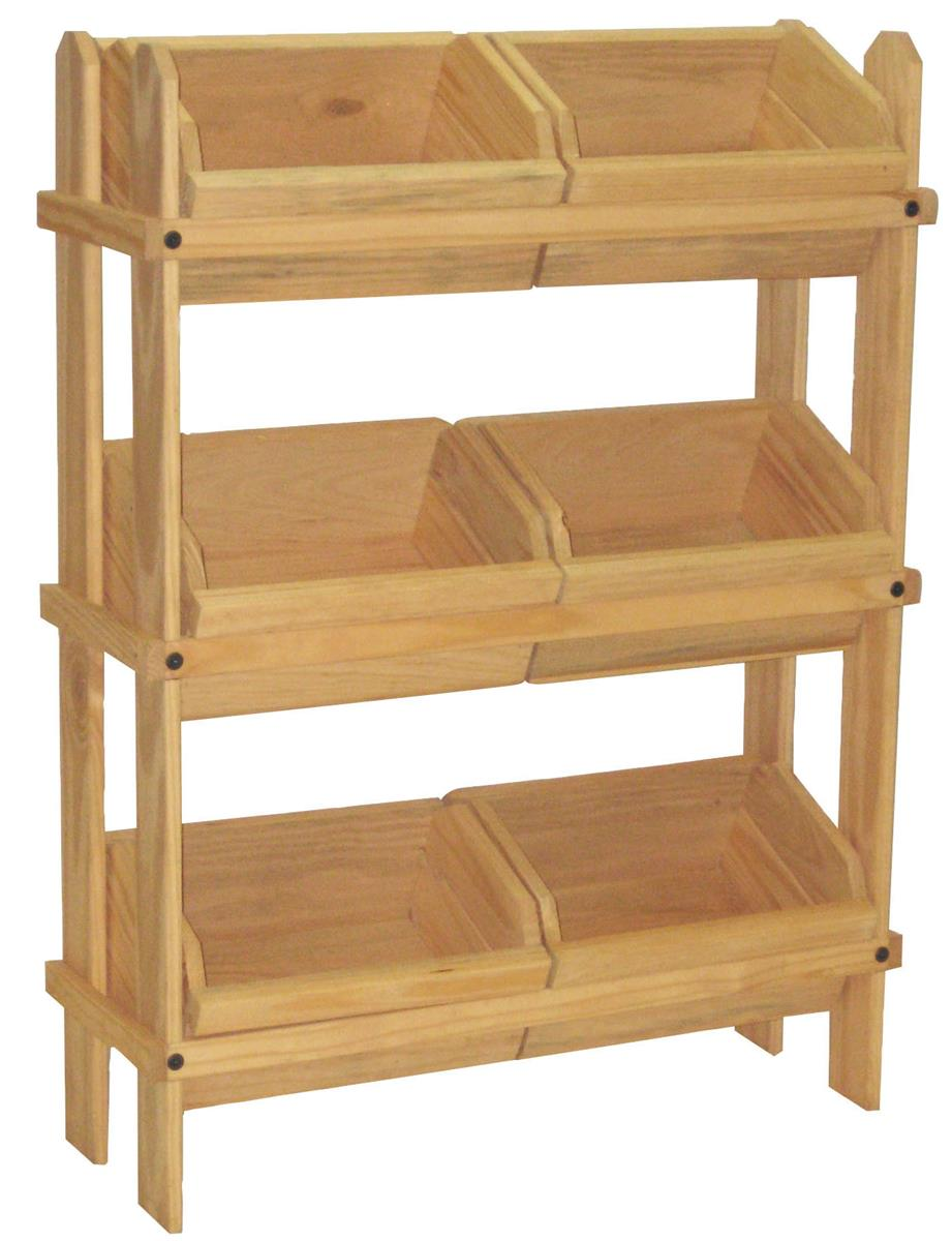 Wood Crate Display Oak Stain Pine Frame Amp Compartments