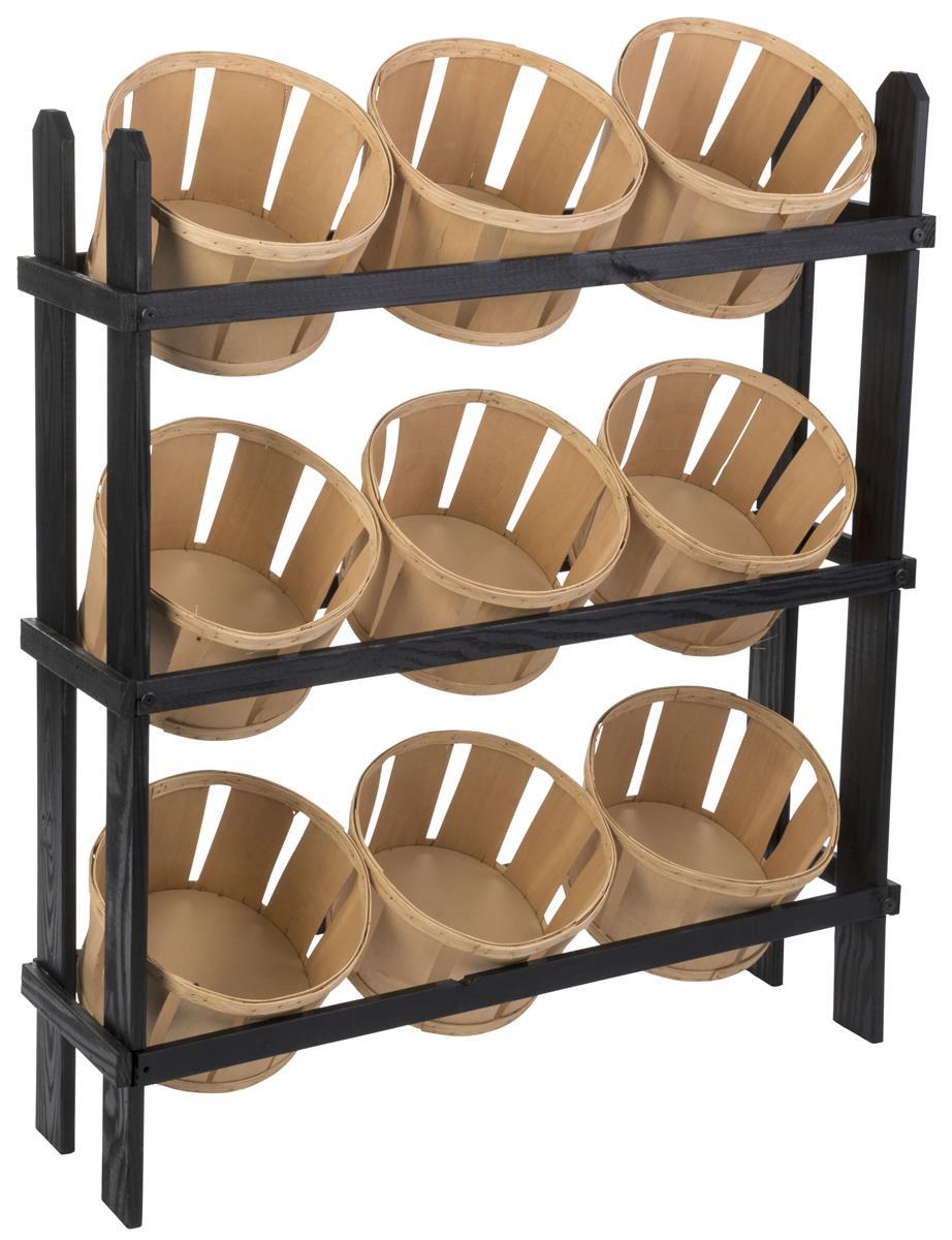 Basket Display Stand 9 Oak Stain Bins On Black Frame