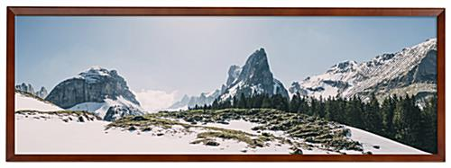 Wooden panoramic photo frame with wall mounting placement style