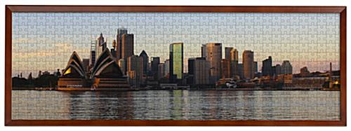 Wooden panoramic photo frame with landscape orientation