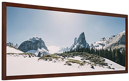 Wooden panoramic photo frame measures 40 inches wide by 13.5 inches tall