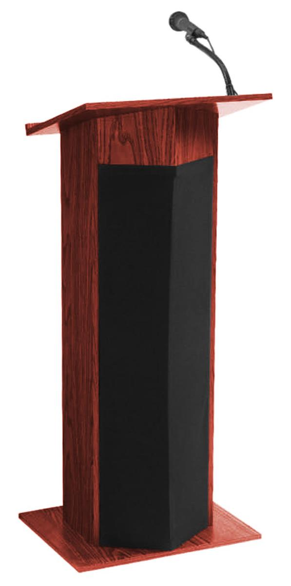 podium with mahogany finish wired mic. Black Bedroom Furniture Sets. Home Design Ideas