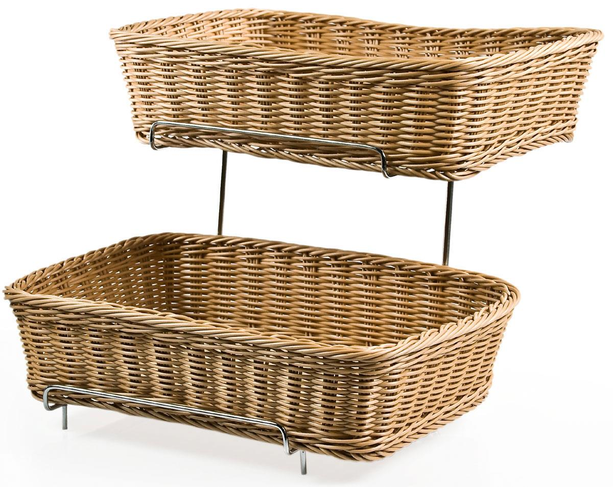 2 Tiered Basket Stand Brown Plastic Wicker Bins Metal Frame Chrome