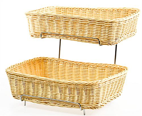 tiered wicker baskets