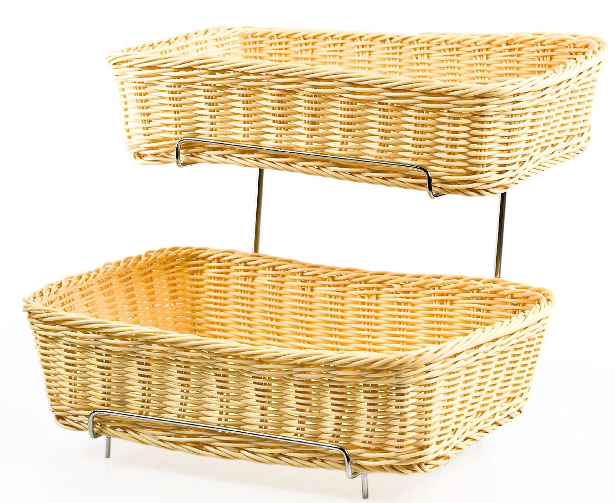 2 Tiered Basket Stand Natural Plastic Wicker Bins Metal Frame Chrome
