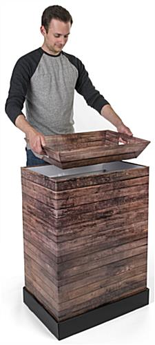 Rustic Printed Corrugated Retail Bin with Matching Tray