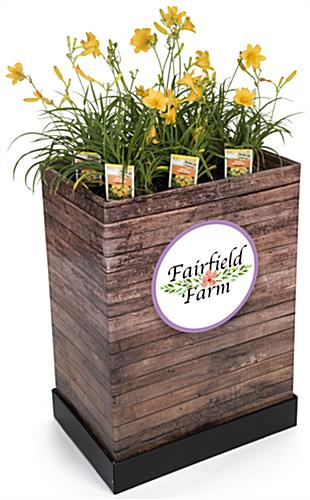 "Custom Cardboard Dump Bin Rustic with 10"" Round Sticker"