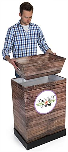 Custom Cardboard Dump Bin Rustic with Matching Faux Wood Tray