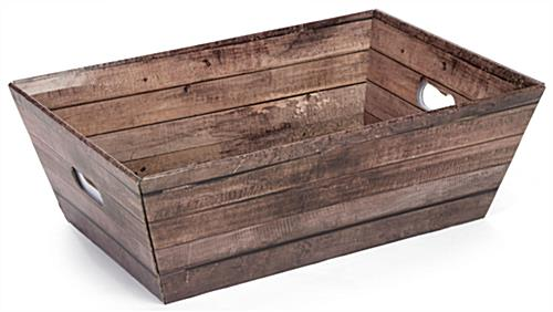 "Custom Cardboard Dump Bin Rustic with 8"" Faux Wood Grain Basket"