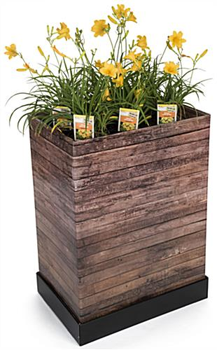 Flower Display in Faux Wood Cardboard Floor Display