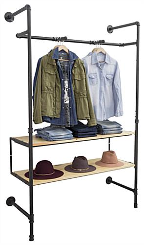 Pipe Outrigger Wall Display Showcasing Clothes and Hats