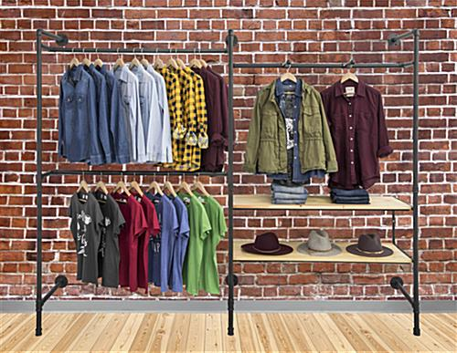 Pipe Outrigger Wall Display with 2 Natural Clothing Shelves
