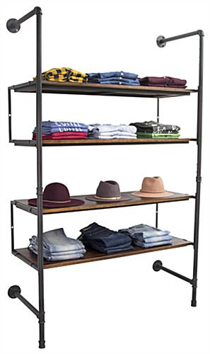 Industrial Retail Wall Shelves Showcasing Clothing and Hats