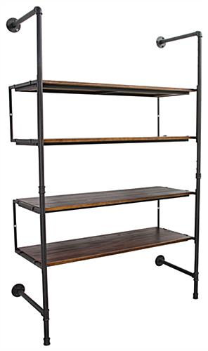 Industrial Retail Wall Shelves with 4 Display Tiers