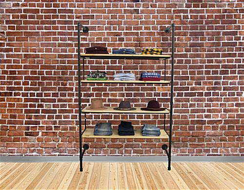 Multi-Tiered Industrial Pipe Shelving Wall Unit