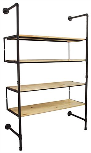 Mounted Industrial Pipe Shelving Wall Unit