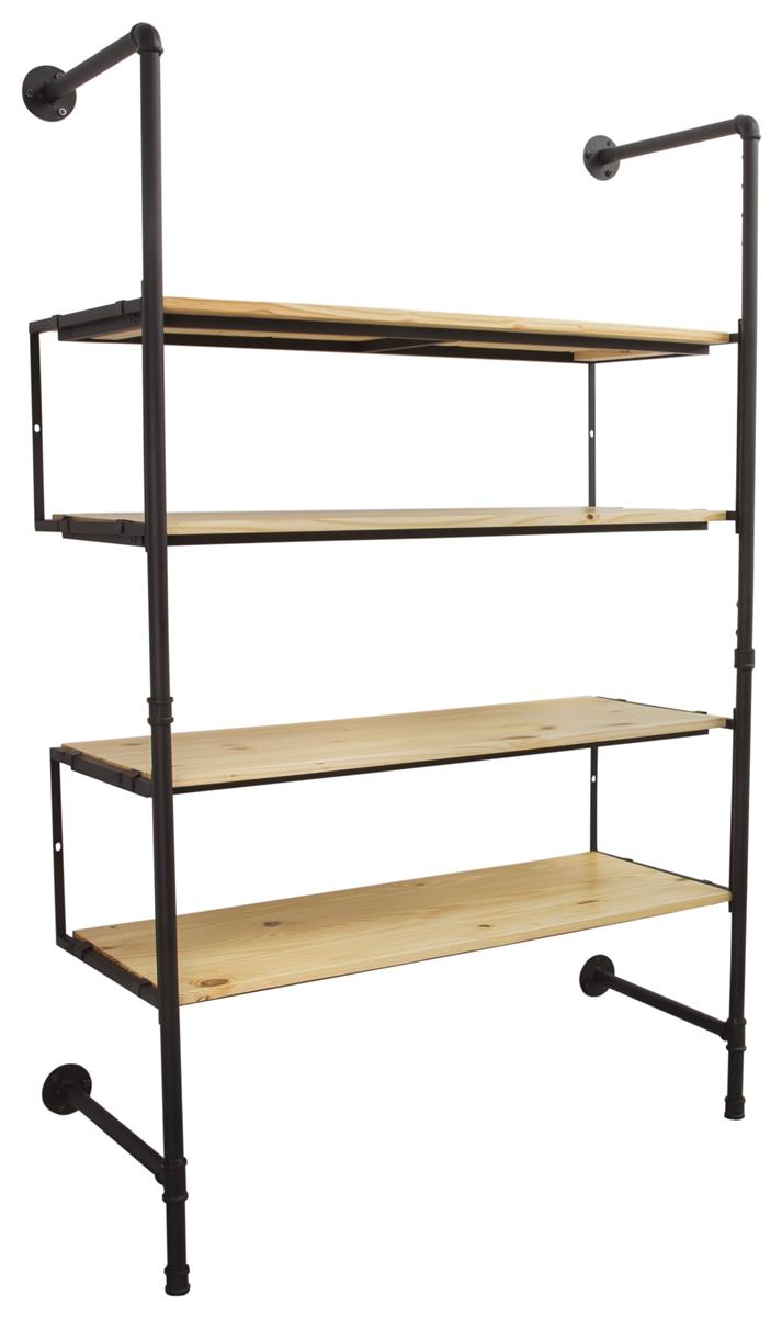 Wall Mounted Pipeline Display 4 Pine Wood Shelves Natural