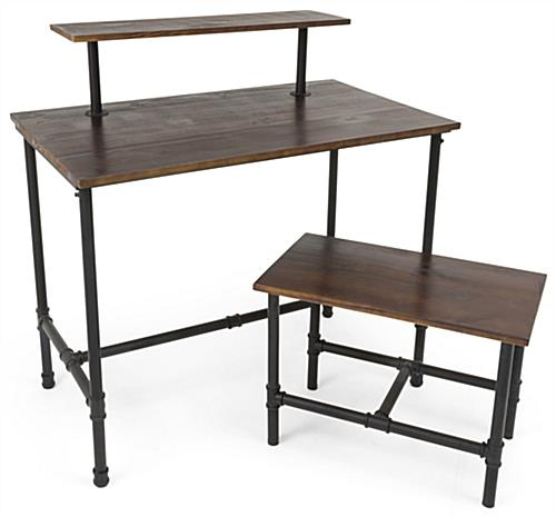 Dark Brown Set of Pipe Display Nesting Tables