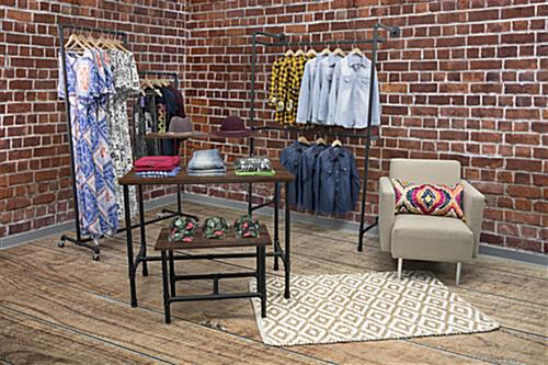 Set of Pipe Display Nesting Tables Used in a Clothing Shop