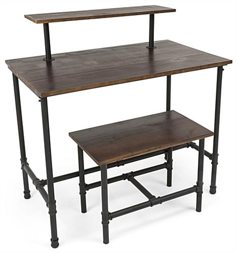 Set of Pipe Display Nesting Tables with Removable Top Tier