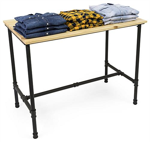 Large Pipe Retail Table with Black Powder Coated Legs