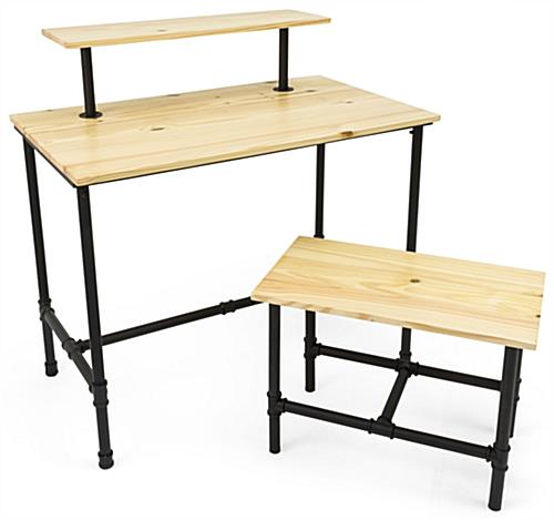 Set of Pipe Retail Nesting Tables with 3 Tabletops