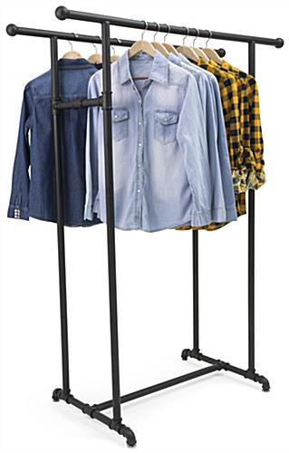 Double Rail Pipe Clothing Rack with Metal Build