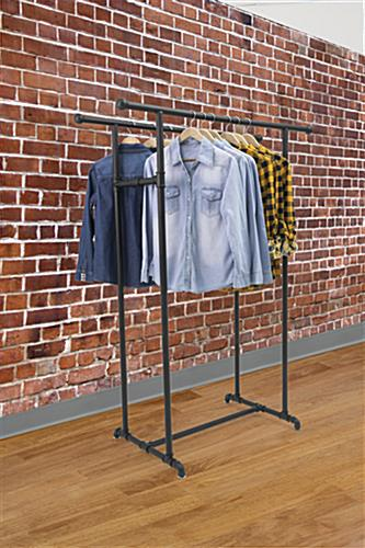 Double Rail Pipe Clothing Rack for Hanging Garments