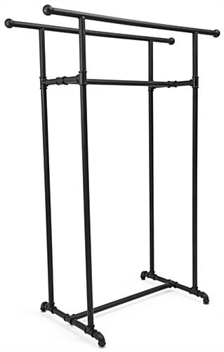 Double Rail Pipe Clothing Rack with Knobs at End